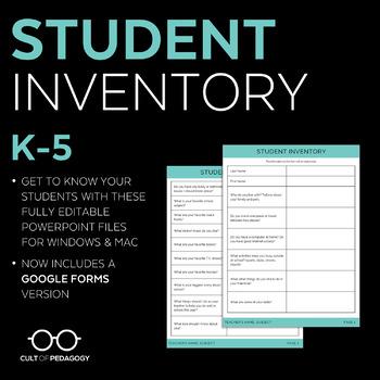 Student Inventory: Grades 3-5 (Editable)