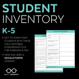 Student Inventory: Grades 3-5 (Editable)