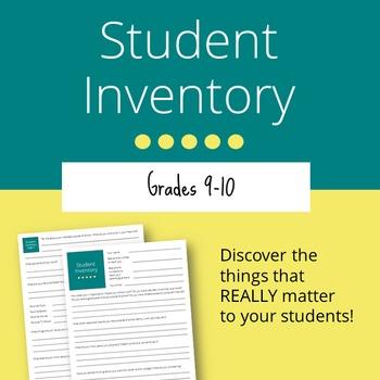 Student Inventory: Grades 9-10 (Editable)