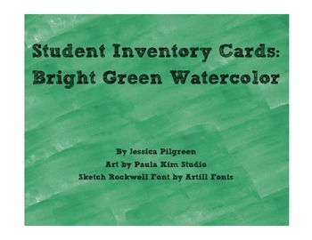 Student Inventory Cards: Bright Green
