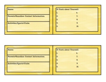 Student Inventory Cards: Sunshine Yellow