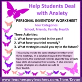 Student Inventory Worksheet for Personal Strategies to Deal with Anxiety