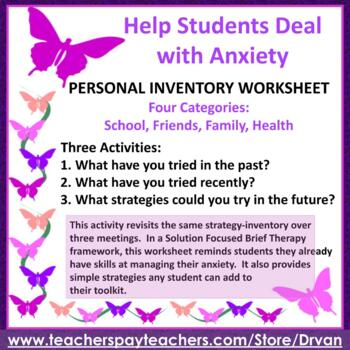 Anxiety Worksheet Teaching Resources | Teachers Pay Teachers