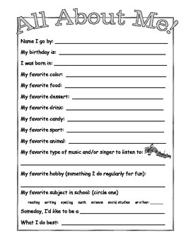 "Student Inventory and ""All About Me"""
