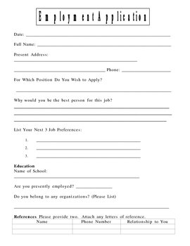 Student Job Application
