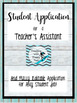 Student Job: Application for Teacher's Assistant