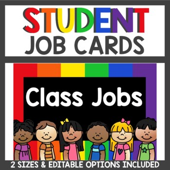 Student Job Cards in black and primary colors