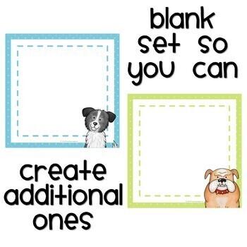 Dog Themed Student Job Cards
