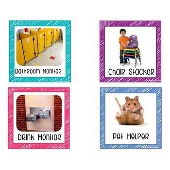Student Job Cards Rainbow Themed