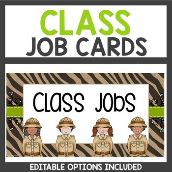 Student Job Cards Safari Themed