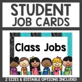 Student Job Cards Teal and Black Classroom Decor