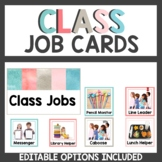 Student Job Cards Watercolor Teal and Pink Themed