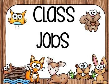 Student Job Cards Woodland Animals