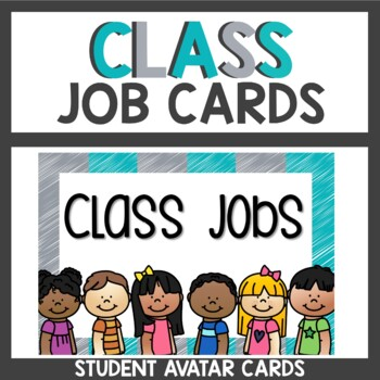 Classroom Job Cards in Gray and Teal