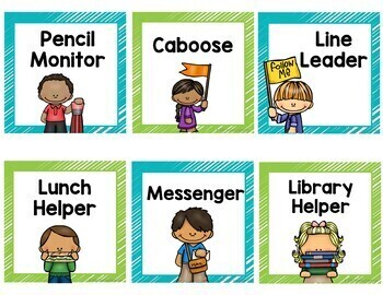 Classroom Job Cards in Lime and Teal