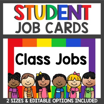 Student Job Cards in primary colors