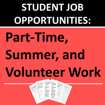 Student Employment, Part Time Work, Summer Jobs, and Volunteering