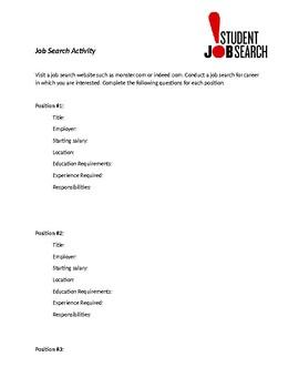 Student Job Search Activity