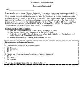 Student Jobs for a Substitute Teacher - editable