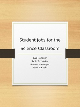 Student Jobs for the Science Classroom