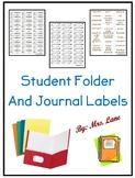 Student Folder and Journal Labels (Including SMART Goals Labels!)