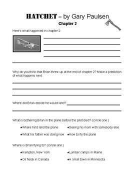 photo regarding Hatchet Worksheets Printable named Hatchet as a result of Gary Paulson College student Publications Worksheets