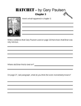 Hatchet by Gary Paulson Student Journals & Worksheets