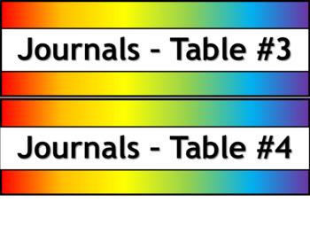 Student Journals Storage Labels - Narrow V3 - Noah's Rainbow