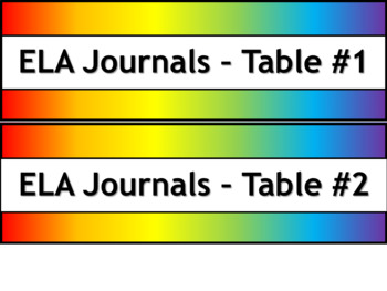 Student Journals Storage Labels - Subject - Narrow V2 - Noah's Rainbow