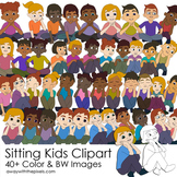 Student Kids Sitting Thinking Clipart | Boy Girl Student Primary Clipart