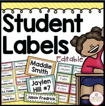 Student Labels - Editable {Brights Classroom Set}