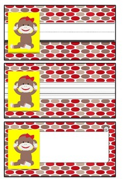 Student Labels - Sock Monkey Theme