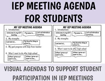 Student Lead IEP meeting Agenda with visuals / Life Skills