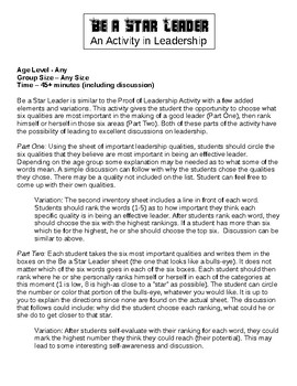 Student Leadership Activity #2 - Be a Star Leader