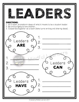 I Can Be A Leader: Brainstorm Activity