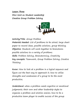 Student Leadership: Creative Group Problem Solving
