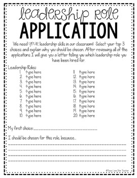 Student Leadership Role Forms FREEBIE!
