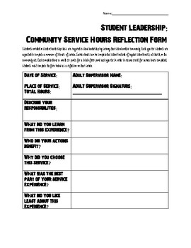 Student Leadership: Service Hours Reflection