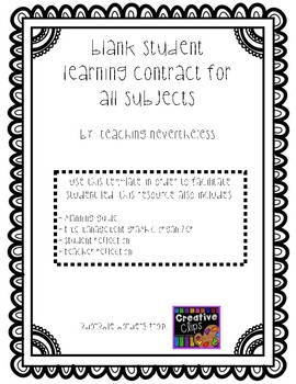 Student Learning Contract for all Subject Areas