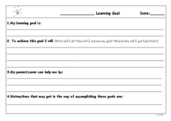 Student Learning Goals record sheet (Freebie)