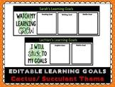 Editable Student Goals Template- Cactus / Succulent Theme