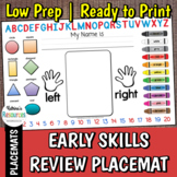 Student Learning Placemat for Early Childhood Classrooms