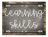 Student Learning Skills - Rustic Chalkboard & Weathered Wood