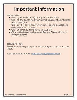 Student Learning Support Template
