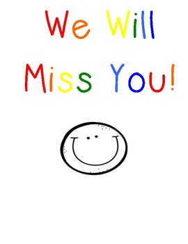 We Will Miss You! Student Leaving Goodbye Booklet
