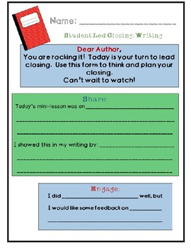 Student Led Closing: Writing