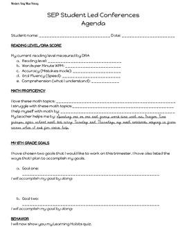 Student Led Conference Agenda
