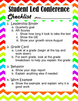 Student Led Conference Checklist