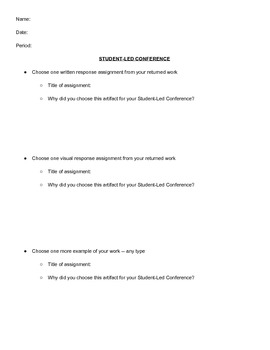 Student-Led Conference Form