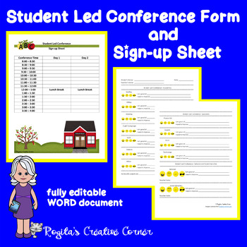 Student Led Conference Form and Sign-up Sheet